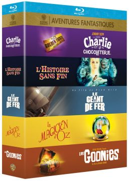 Collection de 5 films aventures fantastiques Warner : Le Géant de fer + L'Histoire sans fin + Les Goonies + Charlie et la chocolaterie + Le Magicien d'Oz